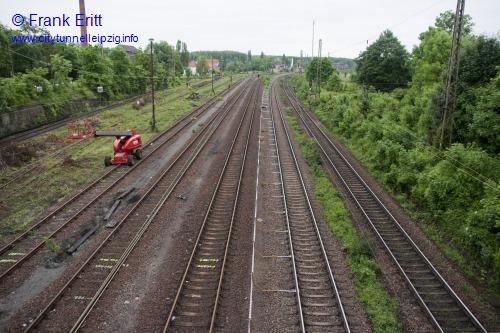 Strecke Markranstädt-Leutzsch - Blick von der Georg-Schwarz-Brücke nach Norden