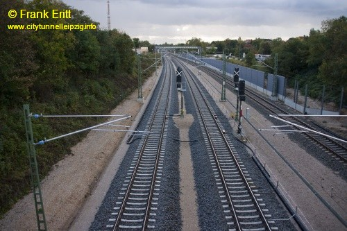 Strecke Markranst�dt-Leutzsch - Blick von der Georg-Schwarz-Br�cke nach S�den