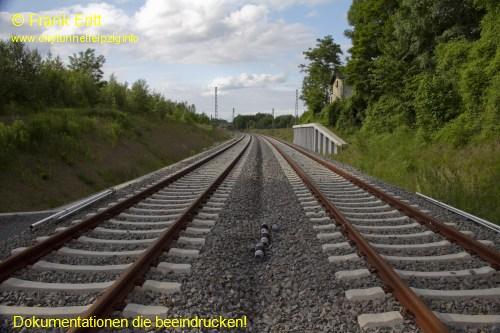 Bauende Gleis Richtung Connewitz - Blickrichtung Nord